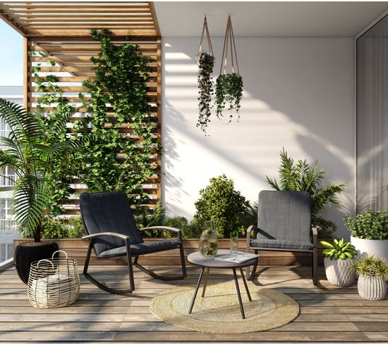 Table et fauteuil de jardin LOKI Noir et gris