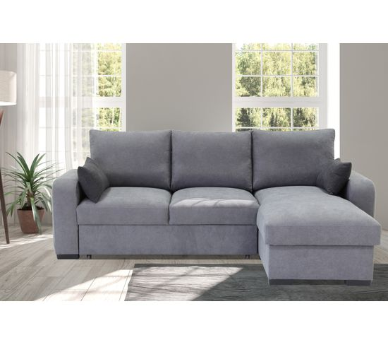 Canapé d'angle convertible méridienne réversible tissu gris clair BROADWAY