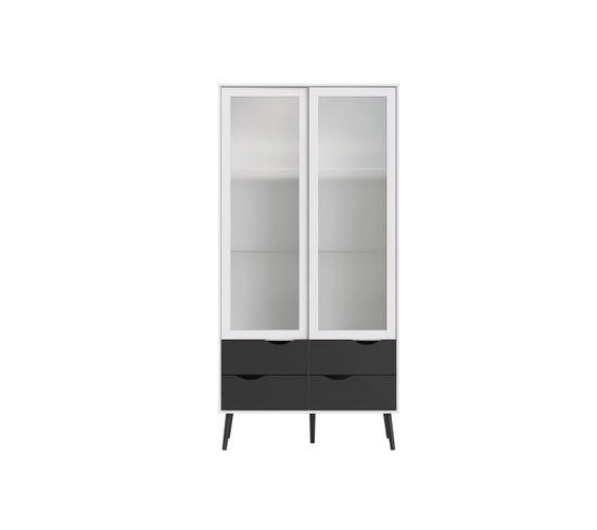 Vitrine 2 portes 4 tiroirs OSLO Blanc/noir