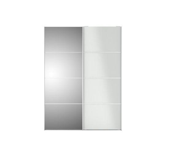 Armoire 2 Portes Coulissantes L 150 Cm Glass Blanc Laque Armoire But
