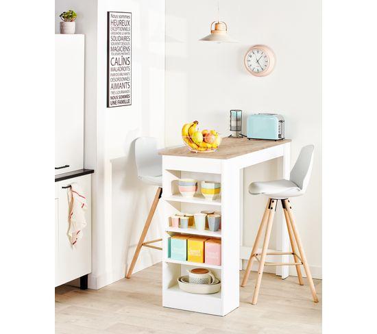 Table bar COLADA Blanc et imitation chêne