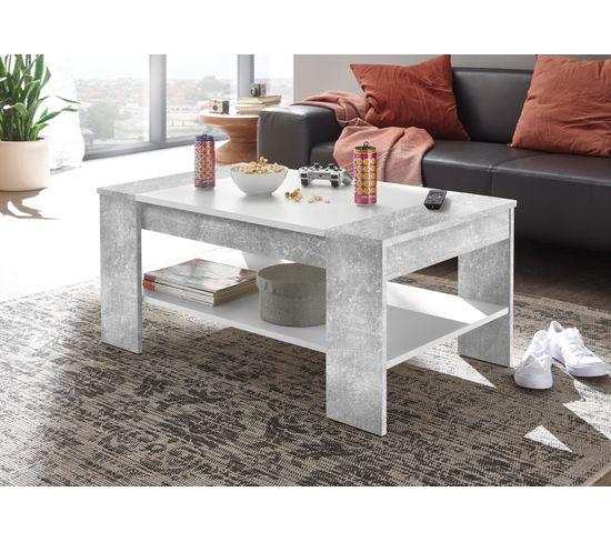 Table basse FINLAY Imitation béton et blanc