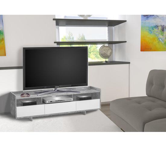 Meuble TV avec led intégrée ALBAN Béton/blanc