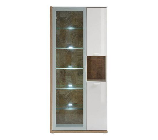 Vitrine 3 portes ENIGO décor blanc brillant/chêne
