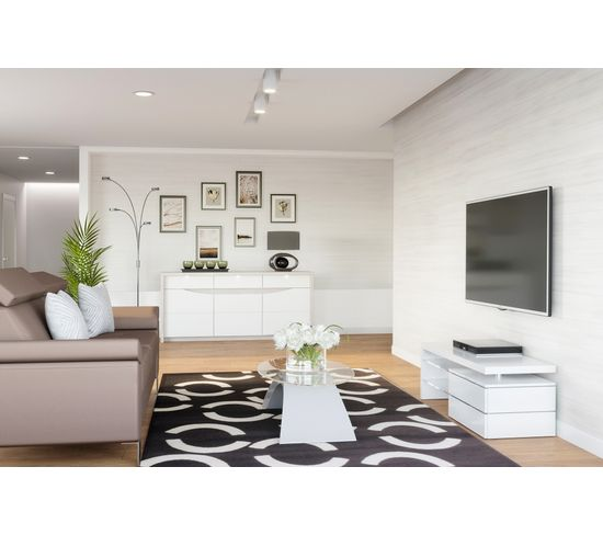 Buffet 3 portes/2 tiroirs ST TROPEZ Blanc/chêne