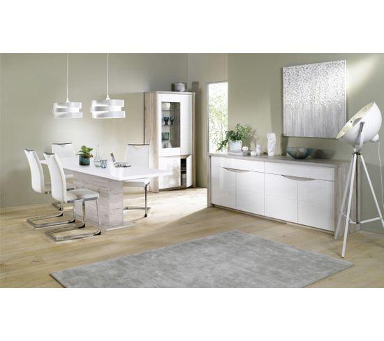Buffet 4 portes/2 tiroirs ST TROPEZ Blanc/chêne
