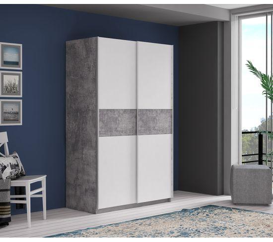 Armoire 2 portes coulissantes OHIO Blanc béton L.120 cm