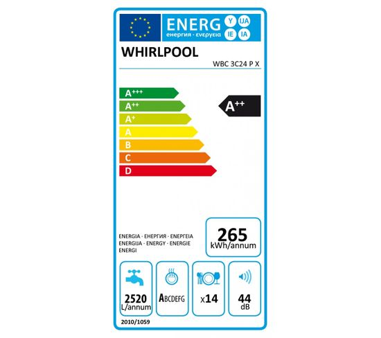 Lave-vaisselle intégrable WHIRLPOOL WBC3C24PX Supreme Clean