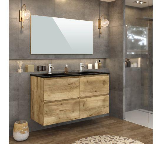 Meuble de salle de bain 120 cm GALAPAGOS Imitation chêne brut et noir