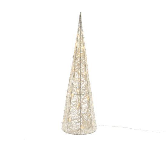 Cone LED fil coton H. 60 cm  Blanc chaud