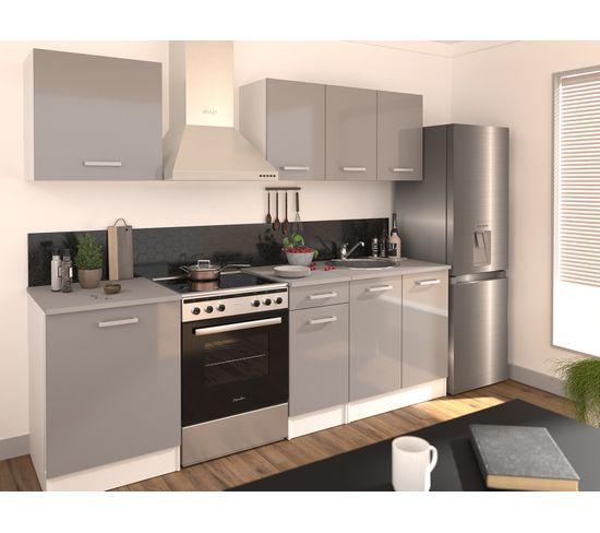ensemble cuisine elibox gris l 240 cm 6 meubles
